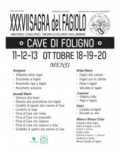 menu XXXVII sagra fagiolo